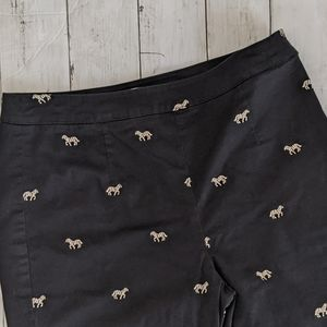 Coldwater Creek Capri Pant w/ Embroidered Zebras